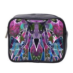 Sly Dog Modern Grunge Style Blue Pink Violet Mini Toiletries Bag 2 Side by EDDArt