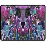 Sly Dog Modern Grunge Style Blue Pink Violet Fleece Blanket (Medium)