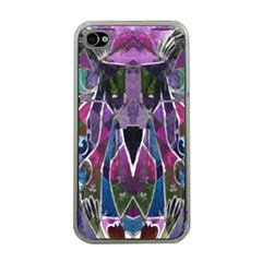 Sly Dog Modern Grunge Style Blue Pink Violet Apple Iphone 4 Case (clear) by EDDArt