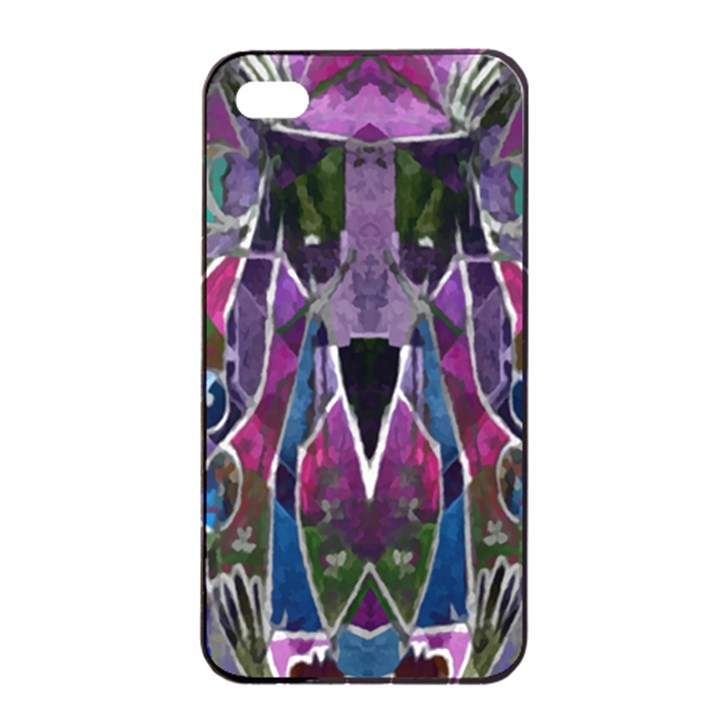 Sly Dog Modern Grunge Style Blue Pink Violet Apple iPhone 4/4s Seamless Case (Black)