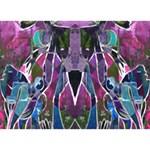 Sly Dog Modern Grunge Style Blue Pink Violet Heart 3D Greeting Card (7x5) Back