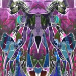Sly Dog Modern Grunge Style Blue Pink Violet Twin Hearts 3D Greeting Card (8x4) Inside