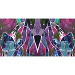 Sly Dog Modern Grunge Style Blue Pink Violet Twin Heart Bottom 3D Greeting Card (8x4) Back