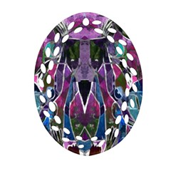 Sly Dog Modern Grunge Style Blue Pink Violet Oval Filigree Ornament (2 Side)