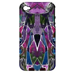 Sly Dog Modern Grunge Style Blue Pink Violet Apple Iphone 4/4s Hardshell Case (pc+silicone) by EDDArt