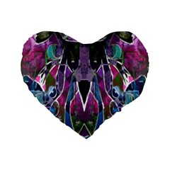 Sly Dog Modern Grunge Style Blue Pink Violet Standard 16  Premium Heart Shape Cushions by EDDArt