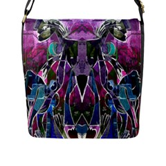 Sly Dog Modern Grunge Style Blue Pink Violet Flap Messenger Bag (l)  by EDDArt