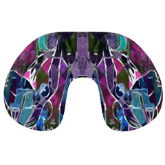 Sly Dog Modern Grunge Style Blue Pink Violet Travel Neck Pillows by EDDArt