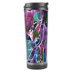 Sly Dog Modern Grunge Style Blue Pink Violet Travel Tumbler by EDDArt