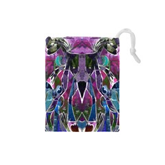 Sly Dog Modern Grunge Style Blue Pink Violet Drawstring Pouches (small)  by EDDArt