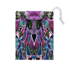 Sly Dog Modern Grunge Style Blue Pink Violet Drawstring Pouches (large)  by EDDArt