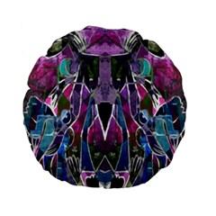 Sly Dog Modern Grunge Style Blue Pink Violet Standard 15  Premium Flano Round Cushions