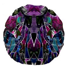 Sly Dog Modern Grunge Style Blue Pink Violet Large 18  Premium Flano Round Cushions by EDDArt