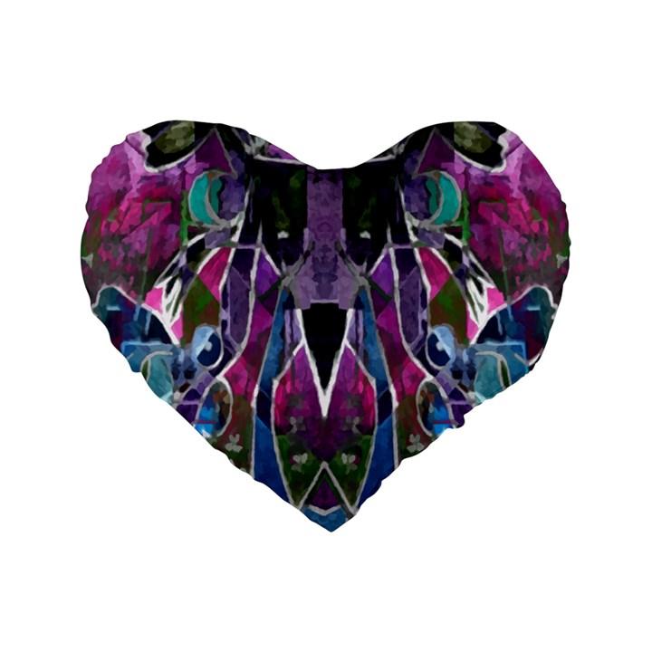Sly Dog Modern Grunge Style Blue Pink Violet Standard 16  Premium Flano Heart Shape Cushions