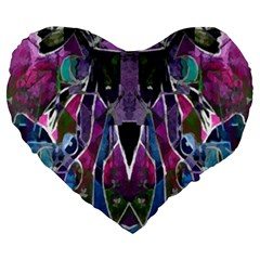 Sly Dog Modern Grunge Style Blue Pink Violet Large 19  Premium Flano Heart Shape Cushions by EDDArt