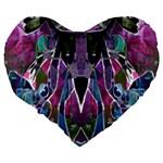 Sly Dog Modern Grunge Style Blue Pink Violet Large 19  Premium Flano Heart Shape Cushions Back