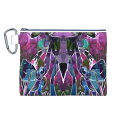 Sly Dog Modern Grunge Style Blue Pink Violet Canvas Cosmetic Bag (l) by EDDArt