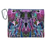 Sly Dog Modern Grunge Style Blue Pink Violet Canvas Cosmetic Bag (XXL)