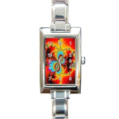 Crazy Mandelbrot Fractal Red Yellow Turquoise Rectangle Italian Charm Watch