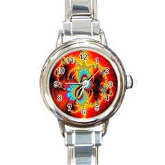 Crazy Mandelbrot Fractal Red Yellow Turquoise Round Italian Charm Watch by EDDArt