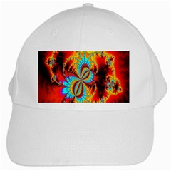 Crazy Mandelbrot Fractal Red Yellow Turquoise White Cap by EDDArt