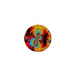 Crazy Mandelbrot Fractal Red Yellow Turquoise 1  Mini Buttons by EDDArt