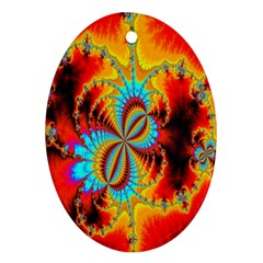 Crazy Mandelbrot Fractal Red Yellow Turquoise Ornament (oval)  by EDDArt