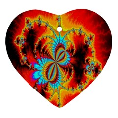 Crazy Mandelbrot Fractal Red Yellow Turquoise Ornament (heart)  by EDDArt