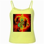 Crazy Mandelbrot Fractal Red Yellow Turquoise Yellow Spaghetti Tank Front