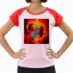 Crazy Mandelbrot Fractal Red Yellow Turquoise Women s Cap Sleeve T-Shirt Front