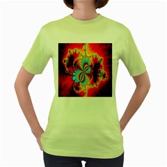 Crazy Mandelbrot Fractal Red Yellow Turquoise Women s Green T-Shirt