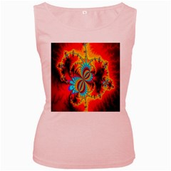 Crazy Mandelbrot Fractal Red Yellow Turquoise Women s Pink Tank Top by EDDArt