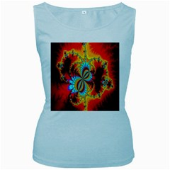 Crazy Mandelbrot Fractal Red Yellow Turquoise Women s Baby Blue Tank Top by EDDArt