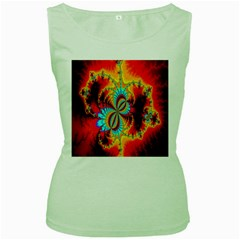 Crazy Mandelbrot Fractal Red Yellow Turquoise Women s Green Tank Top by EDDArt