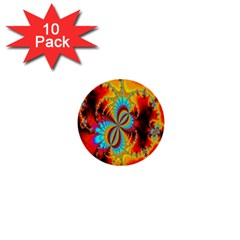 Crazy Mandelbrot Fractal Red Yellow Turquoise 1  Mini Buttons (10 Pack)  by EDDArt