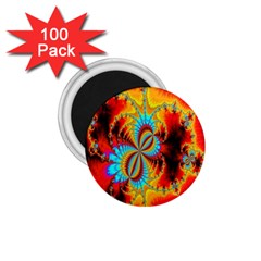 Crazy Mandelbrot Fractal Red Yellow Turquoise 1 75  Magnets (100 Pack)  by EDDArt