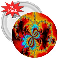 Crazy Mandelbrot Fractal Red Yellow Turquoise 3  Buttons (10 pack)