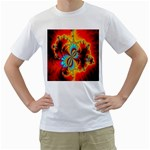 Crazy Mandelbrot Fractal Red Yellow Turquoise Men s T-Shirt (White) (Two Sided) Front