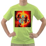 Crazy Mandelbrot Fractal Red Yellow Turquoise Green T-Shirt Front