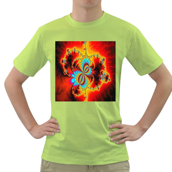 Crazy Mandelbrot Fractal Red Yellow Turquoise Green T-Shirt