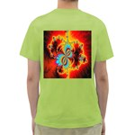 Crazy Mandelbrot Fractal Red Yellow Turquoise Green T-Shirt Back