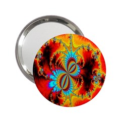 Crazy Mandelbrot Fractal Red Yellow Turquoise 2 25  Handbag Mirrors by EDDArt