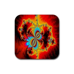 Crazy Mandelbrot Fractal Red Yellow Turquoise Rubber Square Coaster (4 Pack)  by EDDArt