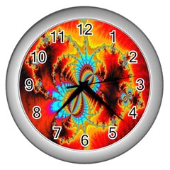 Crazy Mandelbrot Fractal Red Yellow Turquoise Wall Clocks (silver)  by EDDArt