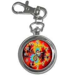 Crazy Mandelbrot Fractal Red Yellow Turquoise Key Chain Watches by EDDArt