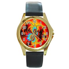 Crazy Mandelbrot Fractal Red Yellow Turquoise Round Gold Metal Watch by EDDArt
