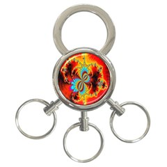 Crazy Mandelbrot Fractal Red Yellow Turquoise 3-Ring Key Chains