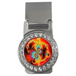 Crazy Mandelbrot Fractal Red Yellow Turquoise Money Clips (CZ)  Front