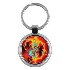 Crazy Mandelbrot Fractal Red Yellow Turquoise Key Chains (round)  by EDDArt