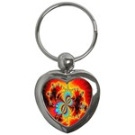 Crazy Mandelbrot Fractal Red Yellow Turquoise Key Chains (Heart)  Front
